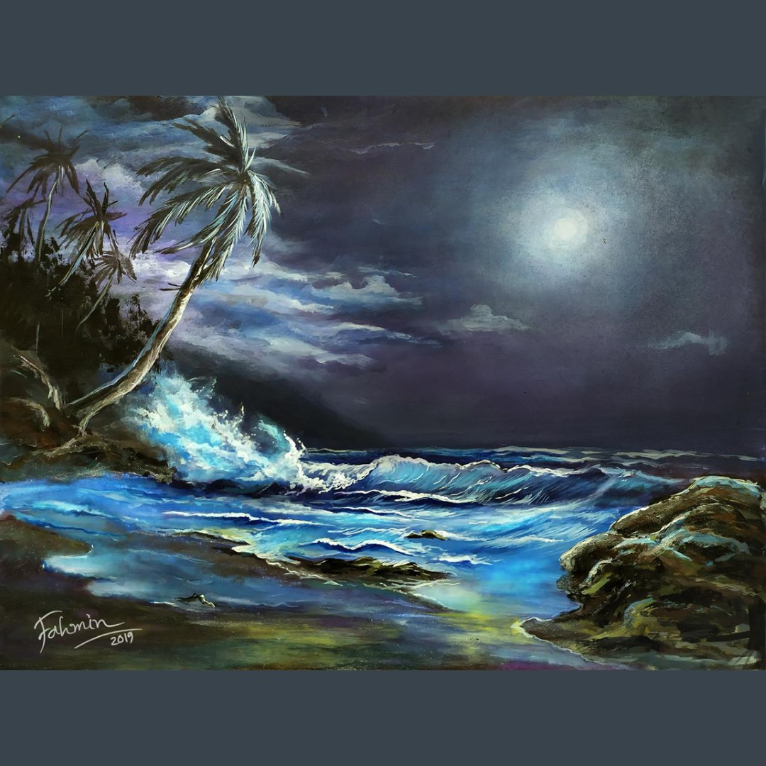 Ocean and the moon